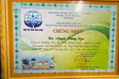"""Trao giải Vòng sơ khảo Cuộc thi """"Đại sứ văn hóa đọc"""" tỉnh Đắk Lắk năm 2020"""